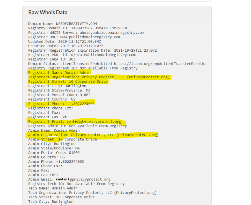 domain whois information with privacy enabled to prevent spam